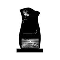 Памятник из карельского гранита П18 Высота с тумбой 120 см Цветник 100см