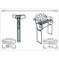Металлические столик и лавочка для кладбища №6