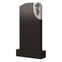 Фигурный памятник из черного гранита Ф04 с крестом на белом фоне